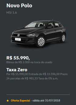 Promoção de Automóveis no folheto de Volkswagen em Teófilo Otoni
