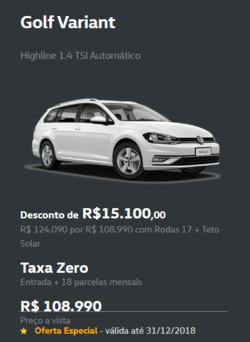 Promoção de Automóveis no folheto de Volkswagen em Jaú