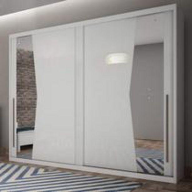 Oferta de Guarda Roupa Casal com Espelho 2 Portas de Correr Geom Siena Móveis Branco por R$1529,9