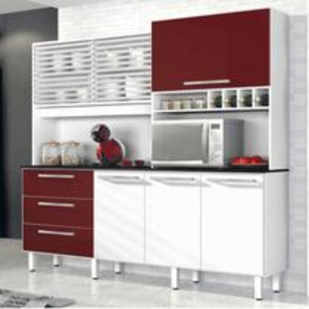 Oferta de Armário de Cozinha 6 Portas 3 Gavetas Mega Siena Móveis Branco/Bordô por R$877,35