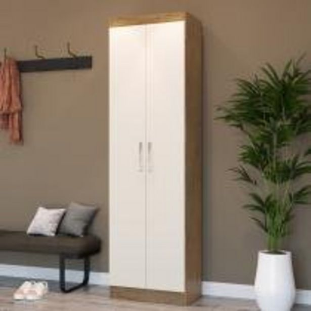 Oferta de Armário Multiuso Ibiza 2 Portas 4 Prateleiras 4099 Off White/nogueira - Doripel por R$188,91