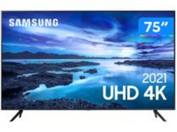 "Oferta de Smart TV 75"" Crystal 4K Samsung 75AU7700 Wi-Fi por R$6999"