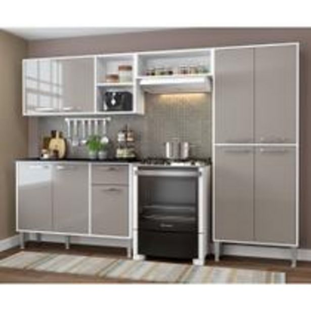 Oferta de Cozinha Completa Compacta Xangai Plus Multimóveis Branco/Fumê por R$674,91