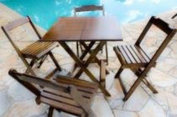 Oferta de Conjunto com Jogo de Mesa 70x70 Com 4 Cadeiras Dobráveis - Imbúia por R$349