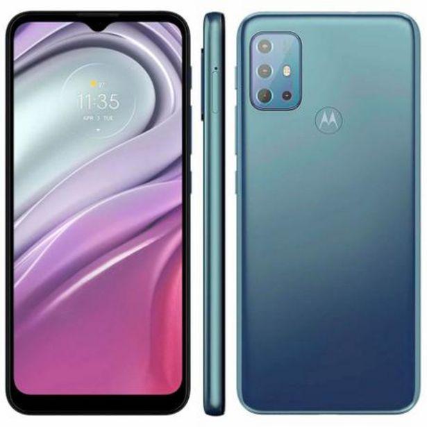 """Oferta de Smartphone Motorola Moto G20 64GB 4G Tela 6.5"""" Câmera Quádupla 48MP 8MP 2MP 2MP Frontal 13MP Azul por R$1015,52"""