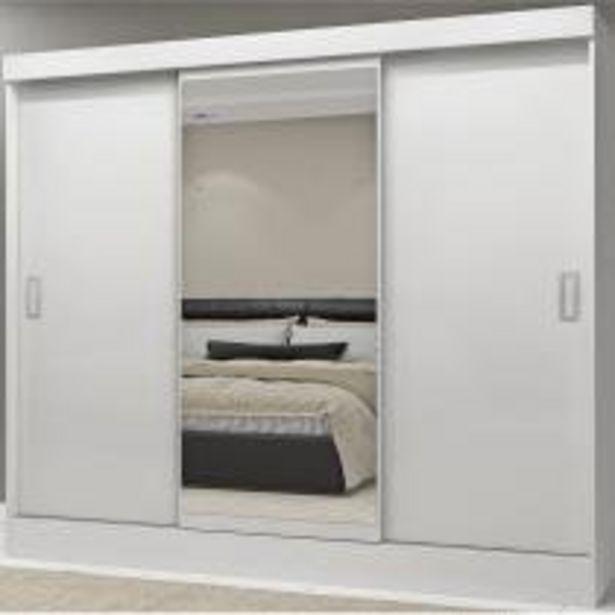 Oferta de Guarda Roupa Casal com Espelho 3 Portas 2 Gavetas Istambul Espresso Móveis Branco por R$529,9