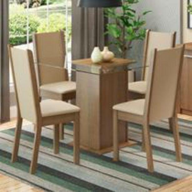 Oferta de Conjunto Sala de Jantar Madesa Aline Mesa Tampo de Vidro com 4 Cadeiras por R$629,99