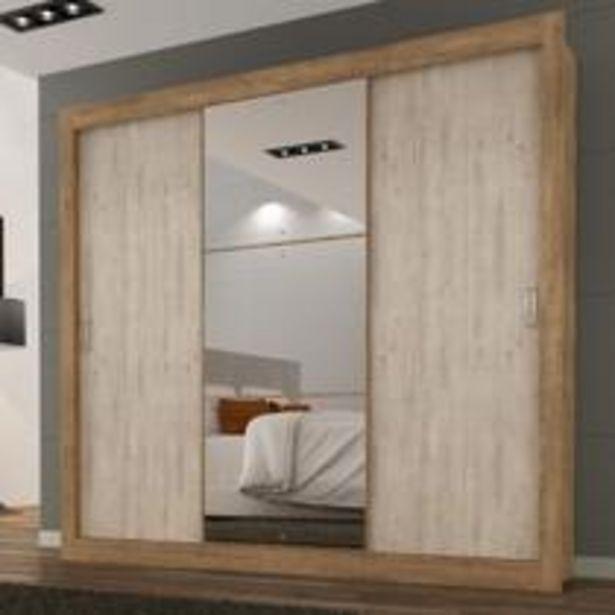 Oferta de Guarda Roupa Casal com Espelho 3 Portas 3 Gavetas Flex Color Smart Espresso Móveis Ipê Tex/Vanilla Tex por R$638,39