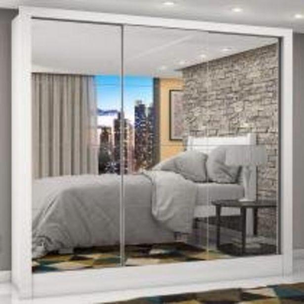 Oferta de Guarda Roupa Casal 3 Portas com Espelho Porto Premium Siena Móveis Branco por R$759,9