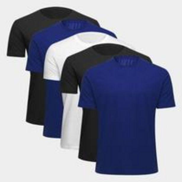 Oferta de Kit Camiseta Básica c/ 5 Peças Masculina por R$55,99