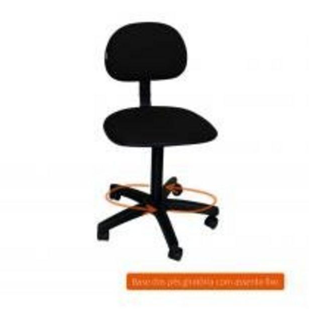 Oferta de Cadeira de Escritório Secretária Giratória Pad Preta por R$103,99