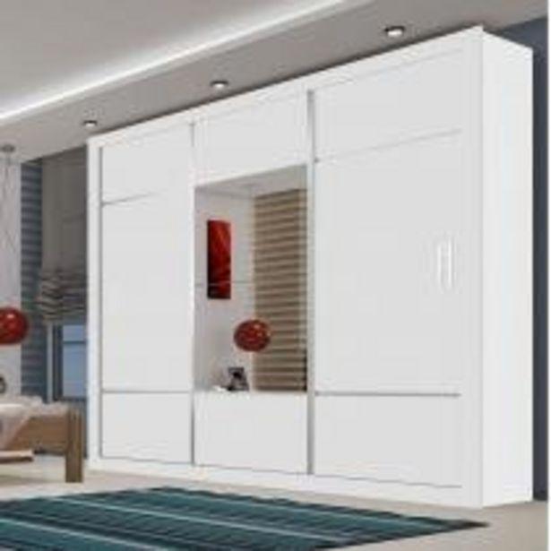 Oferta de Guarda Roupa Casal com Espelho 3 Portas de Correr Lotse Espresso Móveis Branco por R$860,11