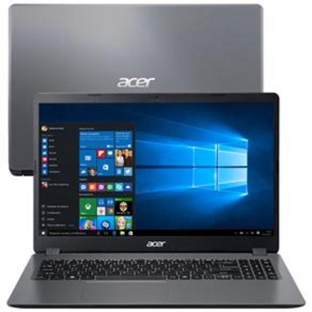 """Oferta de Notebook Acer Core i3-1005G1 8GB 512GB SSD Tela 15.6"""" Windows 10 Aspire 3 A315-56-35ET por R$3149"""