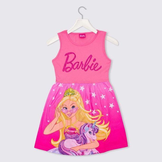 Oferta de Vestido 4 a 10 anos Malha Barbie Mattel Rosa Chiclete por R$29,99