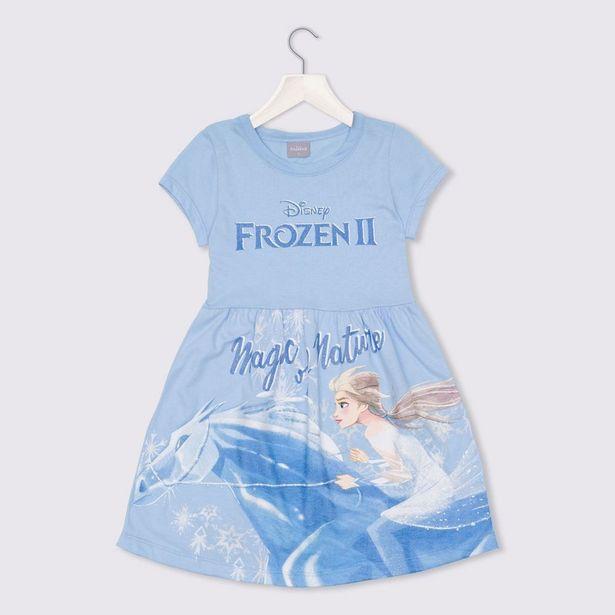 Oferta de Vestido 4 a 10 anos Meia Malha Frozen Elsa Disney Azul Claro por R$29,99