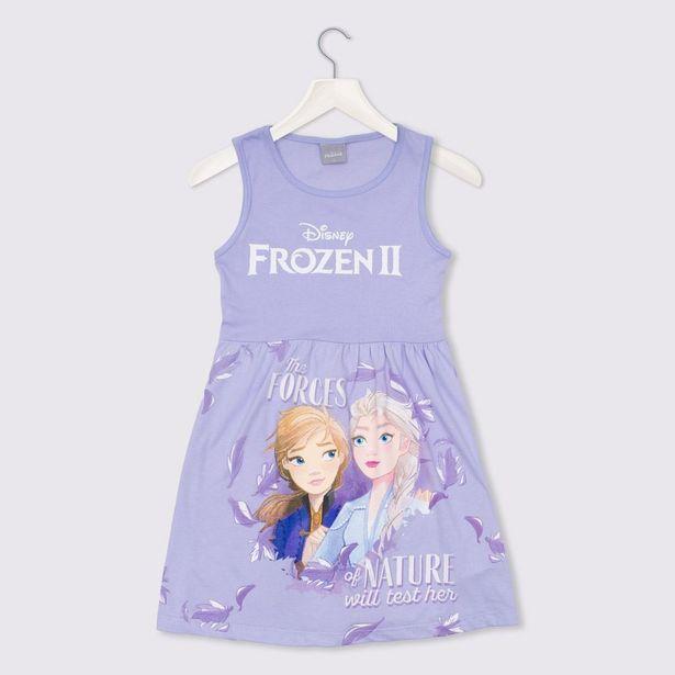 Oferta de Vestido 4 a 10 anos Malha Frozen Disney Lilas por R$29,99