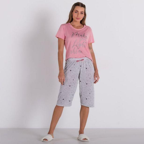 Oferta de Pijama Shine Com Capri Holla Rosa por R$29,99