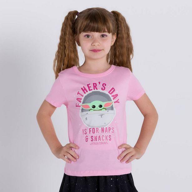 Oferta de Blusa 4 a 10 anos M/Malha Star Wars Baby Yoda Disney Rosa Petala por R$19,99