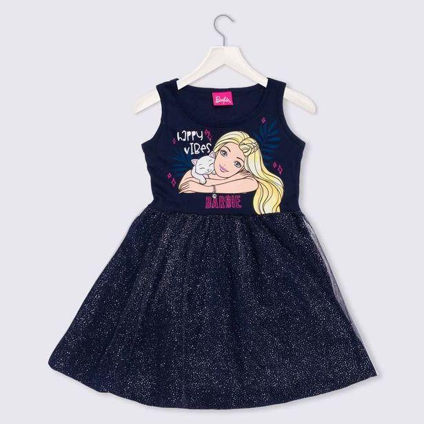 Oferta de Vestido 1 a 3 anos M/Malha Tule Barbie com Glitter Mattel Azul Marinho por R$29,99