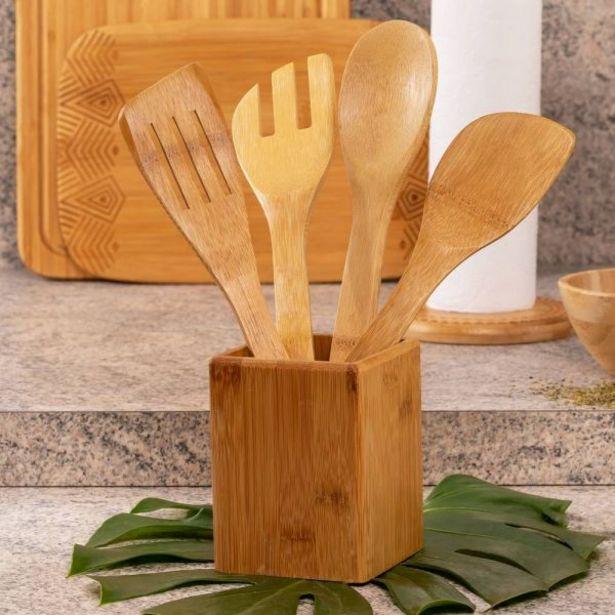 Oferta de Conjunto de 4 Utensílios de Cozinha com Base Finecasa - Bambu por R$39,99