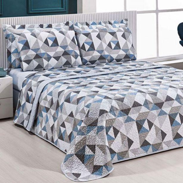Oferta de Jogo De Cama Queen 150 Fios 4 Peças Solecasa - Mosaico Textura Cinza por R$49,99
