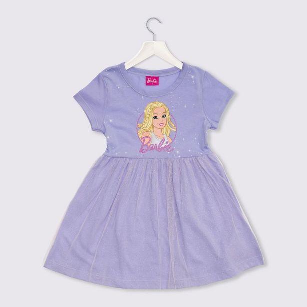 Oferta de Vestido 1 a 3 anos M/Malha Tule Barbie Mattel Lilas por R$29,99