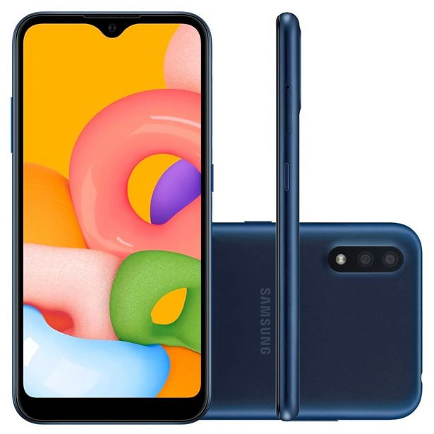 """Oferta de Celular Smartphone Galaxy A01 32GB 5,7"""" Samsung - Azul por R$899,9"""