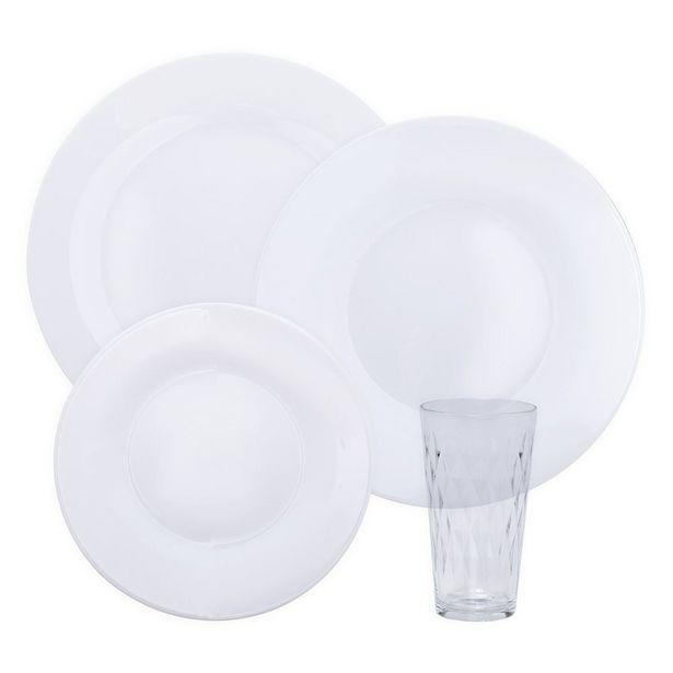 Oferta de Jogo De Jantar Menu Opaline Vitrage 16 Peças Duralex - Branco por R$99,99