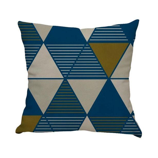 Oferta de Almofada Estampada De Veludo 48X48cm - Triângulos Blue por R$49,99