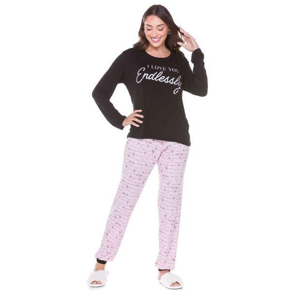 Oferta de Pijama de Viscose com Calça Holla Preto por R$49,99