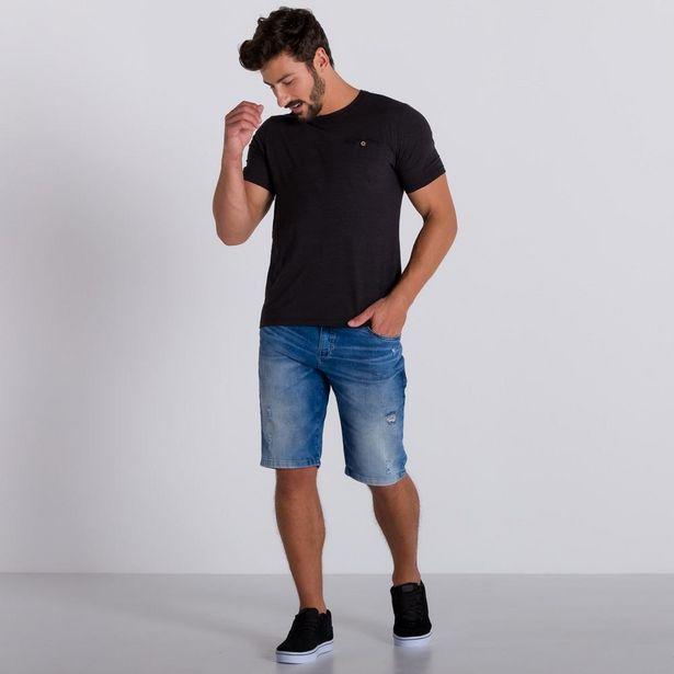 Oferta de Bermuda Jeans Slim com Puídos Marc Alain Blue Medio por R$49,99