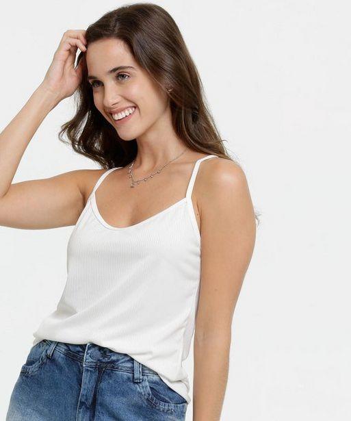 Oferta de Blusa Feminina Canelada Alças Finas por R$25,99