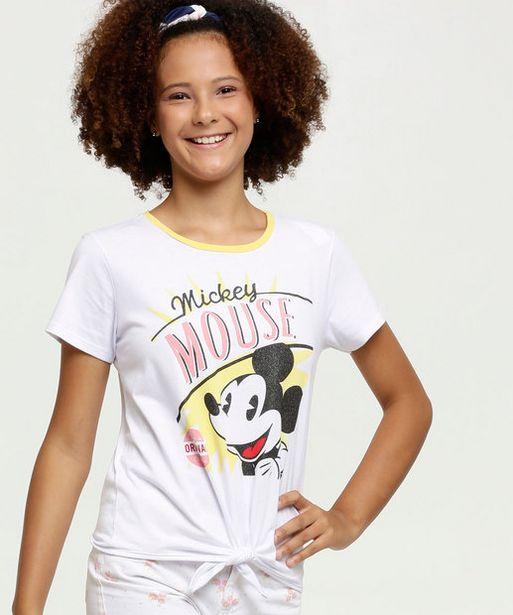 Oferta de Blusa Juvenil  Mickey Amarração Manga Curta Disney por R$15,99