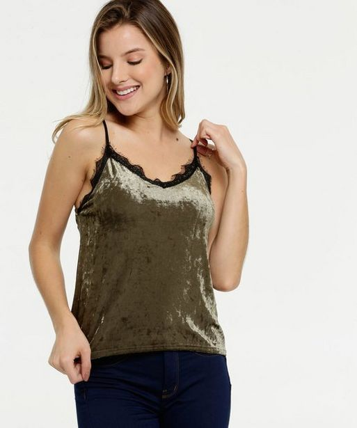 Oferta de Blusa Feminina Veludo Renda Alças Finas Marisa  por R$29,99