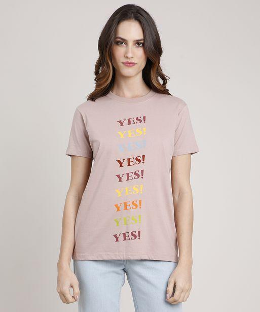 "Oferta de T-Shirt Feminina Mindset ""Yes!"" Manga Curta Decote Redondo Bege por R$16,99"