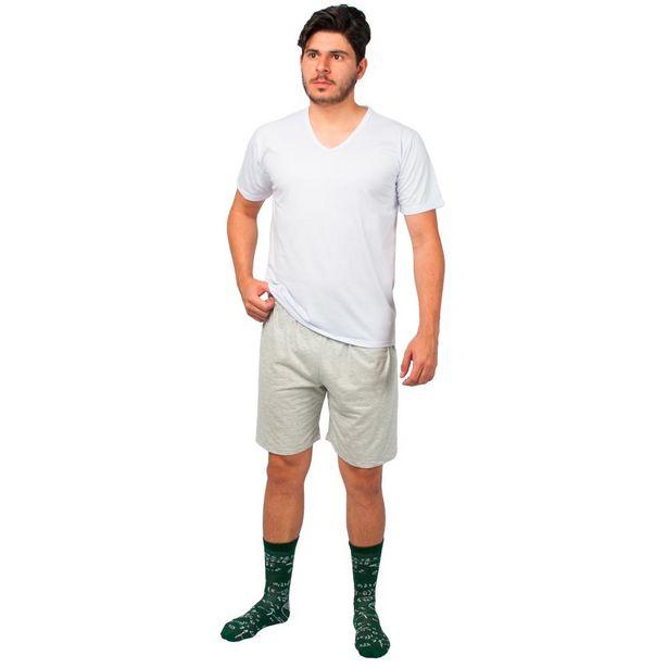 Oferta de Conjunto Pijama Masculino Básico Part.B Verão Branco e Cinza por R$49,9