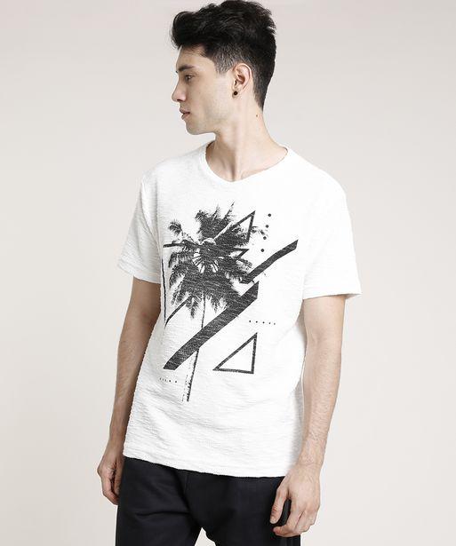 Oferta de Camiseta Masculina Coqueiro em Moletom Flamê Manga Curta Gola Careca Off White por R$19,99
