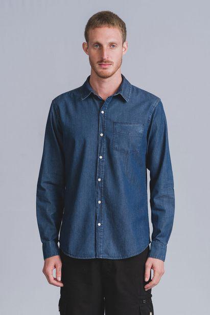 Oferta de Camisa Jeans Manga Longa Dark Jeans Wollner por R$116
