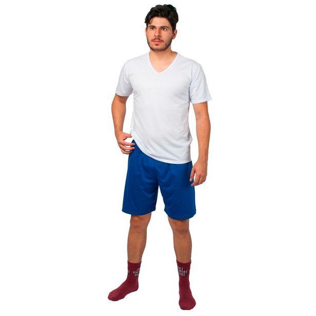 Oferta de Conjunto Pijama Masculino Básico Part.B Verão Branco e Azul por R$49,9