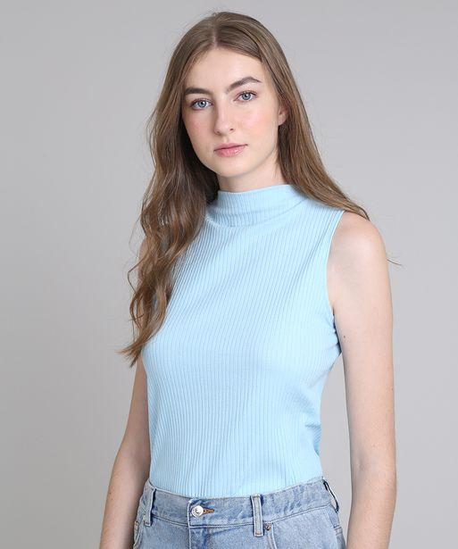 Oferta de Regata Feminina Mindset Canelada Azul Claro por R$17,99
