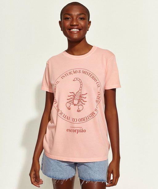 Oferta de T-Shirt Feminina Mindset Obvious Signos Escorpião Manga Curta Decote Redondo Coral por R$20,99