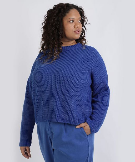 Oferta de Suéter Feminino Plus Size Oversized Decote Redondo Azul por R$32,99