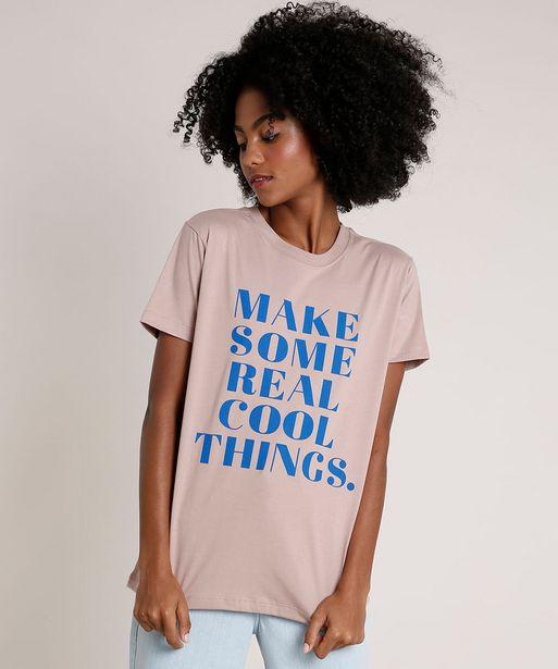 "Oferta de T-Shirt Feminina Mindset ""Cool Things"" Manga Curta Decote Redondo Bege Escuro por R$16,99"