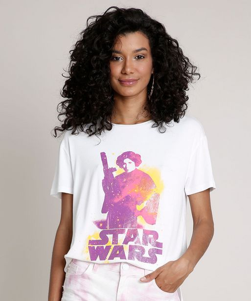 Oferta de Blusa Feminina Ampla Princesa Leia Star Wars Manga Curta Decote Redondo Off White por R$14,99
