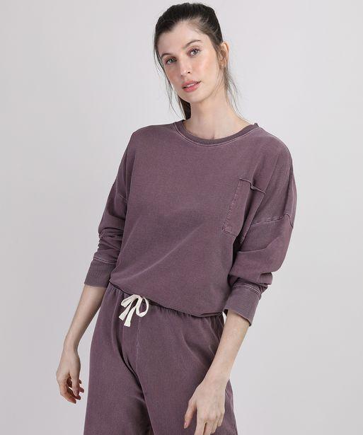 Oferta de Blusão de Moletom Feminino Mindset Cropped com Bolso Decote Redondo Vinho por R$39,99