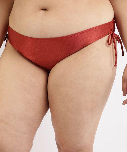 Oferta de Biquíni Calcinha Plus Size com Amarração e Proteção UV50+ Vermelho por R$27,99