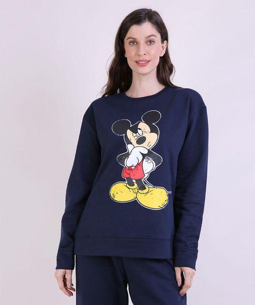 Oferta de Blusão de Moletom Feminino Mindset Mickey Decote Redondo Azul Marinho por R$40,99