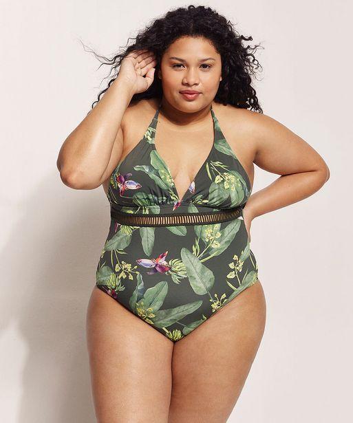 Oferta de Maiô Body Plus Size EMI Beachwear Estampado Bananeiras com Bojo Proteção UV50+ Biodegradável Verde Escuro por R$63,99