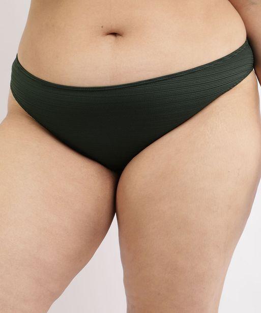 Oferta de Biquíni Calcinha Plus Size Texturizado com Proteção UV50+ Verde Escuro por R$23,99