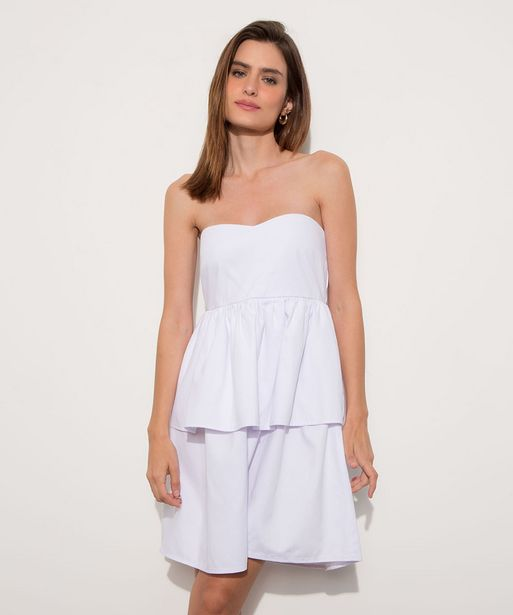 Oferta de Vestido de Sarja Feminino Mindset Curto Tomara Que Caia com Babado Branco por R$46,99